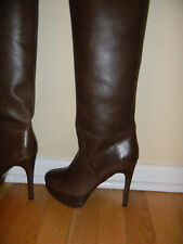 Max Studio brown leather knee high platform boots, sz. 6.5M