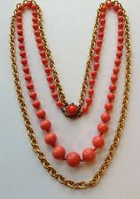 VINTAGE MIRIAM HASKELL SIGNED CORAL GLASS BEAD AND CHAIN 2 STRAND NECKLACE