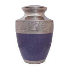 Large Purple Urn, Nickel Embossed Adult Funeral Urn for Ashes