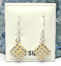 NEU 925 Silber VIERECK OHRHÄNGER gelb STRASSSTEINE kristallklar/klar OHRRINGE