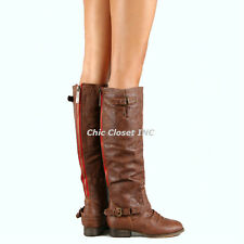 NEW Women Riding Cowboy Western Equestrian Color Zipper Knee High Flat Boots