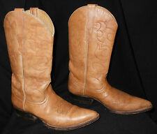 Vtg Men's Cowboy Boots Pointy Toe Rockabilly Rodeo Western Style Tan 8.5