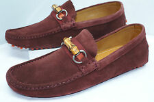 Gucci Men's Shoes Queen Bamboo Suede Loafers Drivers Dress Size G 9.5 NIB