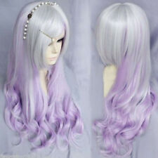 Silver Gray Purple Ombre Wig Long Curly Wavy Women Hair Cosplay Lolita Full Wig