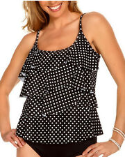 Miraclesuit Swimsuit Tankini Size 8 Black Tiered Polka Dot NEW