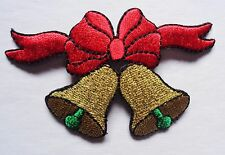 CHRISTMAS - 2 GOLD BELLS IRON ON PATCH APPLIQUE