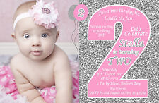 Personalised Glitter Pink Silver Gold Birthday Invitations 1st 2nd Photo invites