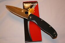 "Spyderco Resilience Black G10 Handle Plain Edge Pocket Knife C142GP 4.25"" Blade"