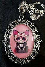 Dia Muertos Cat Large Antique Silver Pendant Necklace Mexico Day Dead Goth Pink