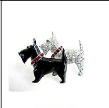 """2"""" Black and Clear Rhinestone Dog Brooch"""