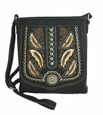 Montana West Concealed Gun Messenger Purse Cross Body Embroidered Feathers Black