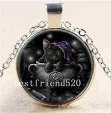 Black Cat Wicca Photo Cabochon Glass Tibet Silver Chain Pendant  Necklace