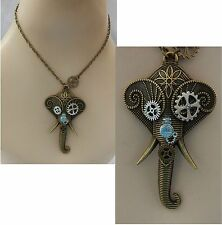 Gold Steampunk Elephant Pendant Necklace Jewelry Handmade NEW Fashion Cosplay