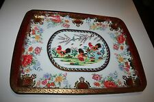 Daher Decorated Ware Rooster Tin Rectangular Serving Tray Red Vintage England
