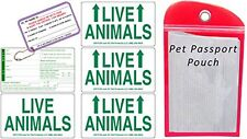 Live Animal Sticker Label Set of 5 w/ Pet Passport Pouch RED