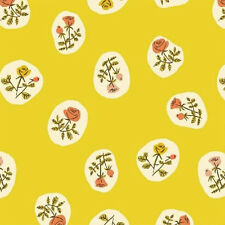 Heather Ross ~ Tiger Lily Rose Bud Yellow Fabric / quilting dressmaking vintage