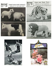 4 x Vintage Knitting Patterns – Farm Animals, Lion & Tiger, Jack & Jill, Clanger