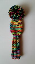 """Multi-NEON/Pom 8"""" S Hand Knit GOLF CLUB HEAD-COVER for putter, iron, hybrid"""