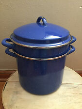 Vintage Blueberry White Speckled Double Boiler Pot & Lid | Enamelware Enamel