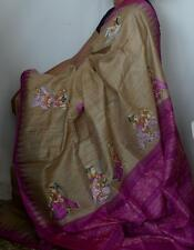 Pattachitra Handpainted Handloom Ikat Tussar Pure Silk Saree- Shringar