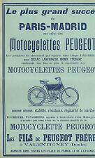 MOTOS MOTORCYCLES PEUGEOT COURSE PARIS-MADRID CISSAC LANFRANCHI PUBLICITE 1903