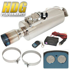 "Electric Remote Sound Control Inlet 2.5"" Outet 4"" Tip Exhaust Muffler Silencer"