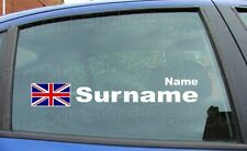 Large Rally Race Surname Window Names Tag Union Jack England Flag Stickers Decal