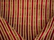 2+Y LUXURIOUS PINDLER CUDDLY RUBY / GOLDEN BROWN STRIPE VELVET UPHOLSTERY FABRIC