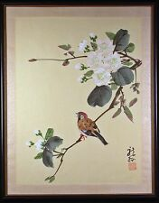 Asian Brush Painting of Bird on Flowering Branch