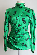 Ungaro Parallele Paris Bright Green Couture Floral Top Print Wrap Ruch Top Sz 10