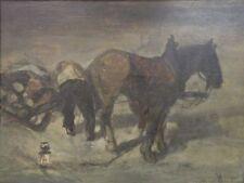 Ölgemälde BAUER MIT HOLZFUHERWERK Signiert um 1900