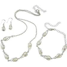 Wholesale Lot 3 Sets Silver Tone Freshwater Pearl Necklace Bracelets & Earrings