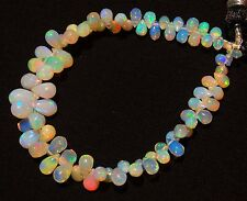 Natural Gem Ethiopian Opal Super Electric Fire Play Drop Shape Briolettes 6""