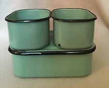 3 Vintage Green with Black Trim Enamel Refrigerator Containers Pans Enamelware