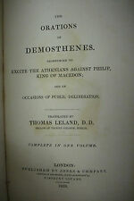 1829 THE ORATIONS OF DEMOSTHENES*Complete In One Volume*Athens*Philip of Macedon