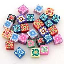 100x Small Oblate Cube Flower FIMO Polymer Clay Spacer Bead Findings 6x6x4mm BS