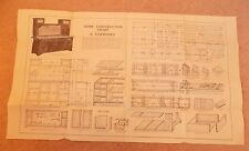Newnes Home Mechanic 1930s Vintage Original Plans Chart How to Build a Sideboard