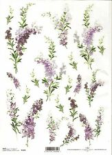 Rice Paper for Decoupage Scrapbooking Purple Violet Flowers A4 ITD R103