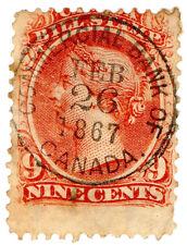 (I.B) Canada Revenue : Bill Stamp 9c (1865)