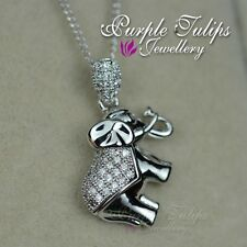 18CT White Gold Plated Cute Elephant Necklace W/ SWAROVSKI Crystals