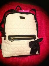 BETSEY JOHNSON  BACKPACK White black BE MINE  Bag Handbag  Quilted Hearts NEW