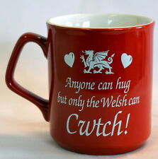 """""""ONLY THE WELSH CAN CWTCH"""" design RED MUG with dragon , Cymru, Wales"""