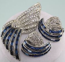 Vintage Hattie Carnegie faux sapphire and rhinestones Pin Brooch earrings