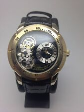 Elgin Mens Gold Tone Black Leather Band Open Dial Semi Automatic Watch FG2014S