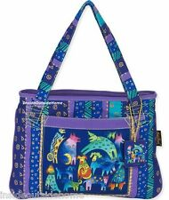 Laurel Burch Mythical Dogs Dancing Medium Large ML Tote Bag Puppy NEW