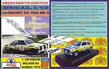 ANEXO DECAL 1/43 FORD ESCORT RS 1800 MKII B.WALDEGARD QUEBEC 1979 WINNER (04)