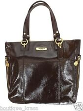 $378 NWT Coach F20432 Gallery Patent Leather Zipper North/South Tote Bag Authent
