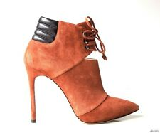 new $1050 CASADEI 'J Lo' brown suede lace-up zipper ankle boots 35.5 5.5 - SEXY