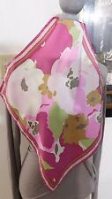 COLE HAAN Small Pink Green White Multi Silk Scarf