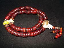 Old Nepal Tibet Buddhist 108 Button Shaped Kapala Bone Mala Prayer Beads II